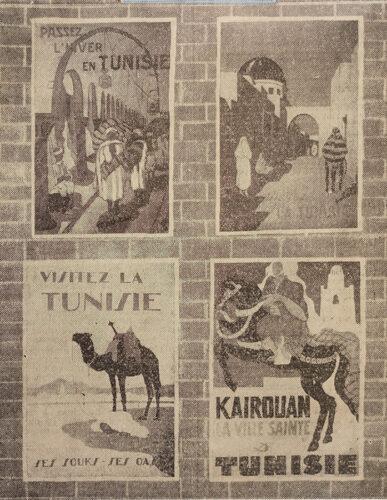 Lauréats du concours des panneaux publicitaires. De gauche à droite et de haut en bas : Yahia Turki, C. Boubila, J. Choupik, Aly Ben Salem. (La Dépêche Tunisienne, 2 novembre 1937)