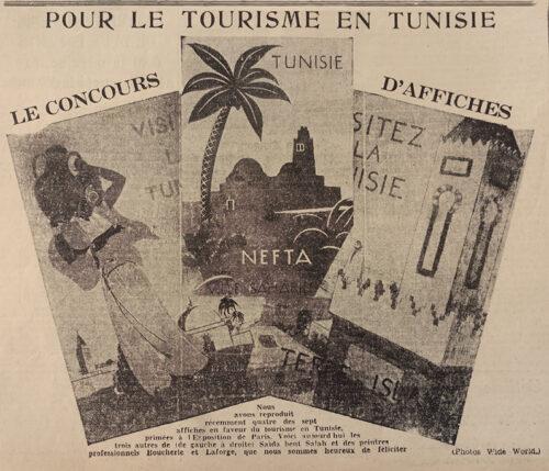 Lauréats du concours des panneaux publicitaires. De gauche à droite : Saïda Bent Salah, P. Boucherle et Laforge. (La Dépêche Tunisienne, 4 novembre 1937